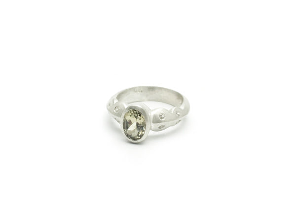 Scallop Ring in Argentium Sterling Silver with Csarite