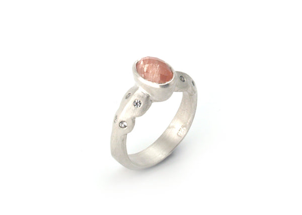 Scallop Ring in Argentium Sterling Silver with Oregon Sunstone