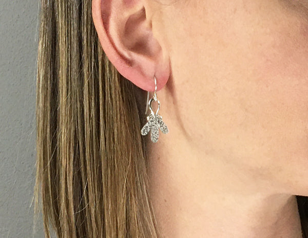 Triple Drop Dangle Earrings with Silver