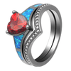 July Dual Set Heart Birthstone Ring