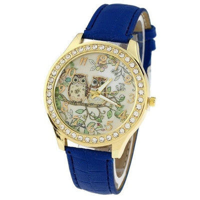 Rhinestone Leather Owl Watch