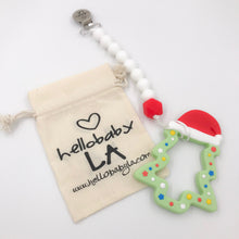 Holiday Christmas Snowflake Teether and Pacifier Clip/Teething Leash Combo