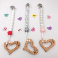 Engraved Valentine's Day Heart Pacifier/Binky Clip Combo