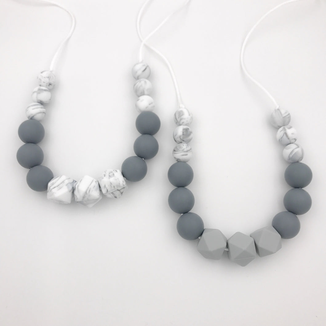 monochrome silicone teething necklaces