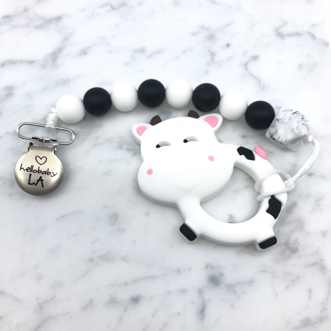 Cow Teether and Pacifier Clip/Teething Leash Combo