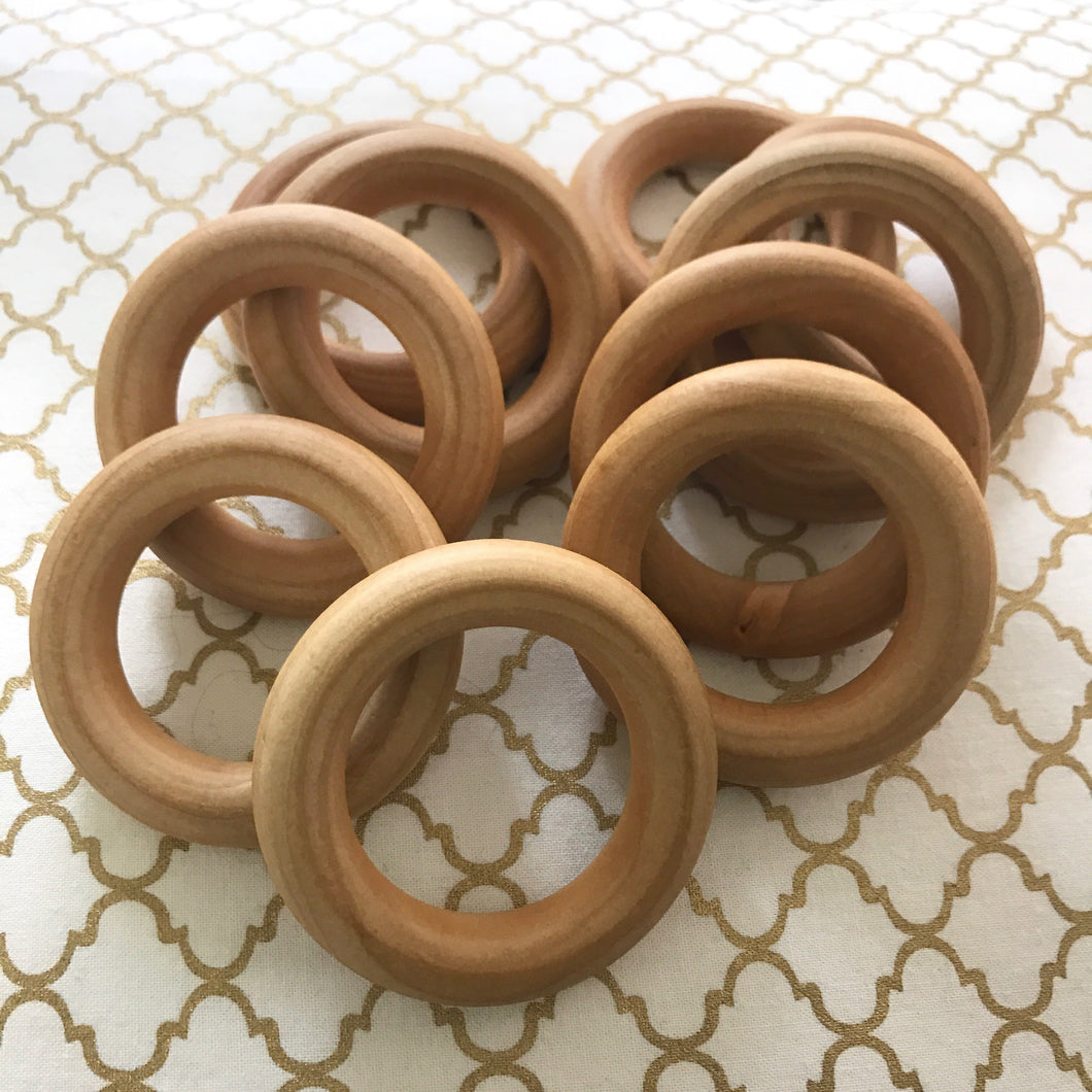 50 PACK Organic Maple Wood Round Rings 2.5