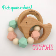 Customized Animal Teether Rattle (Choose Your Colors/Animal!)