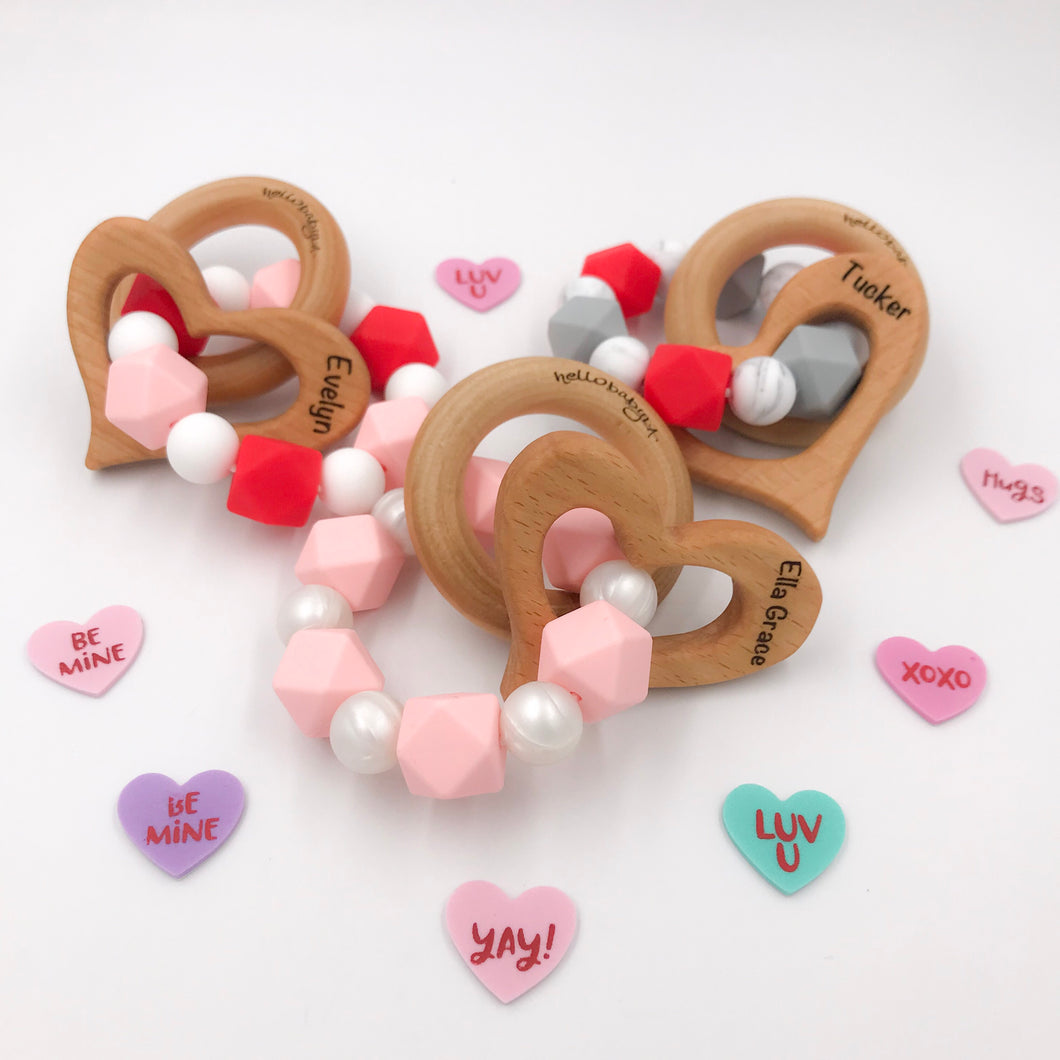 Engraved Valentine's Day Teether