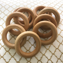 10 PACK Organic Maple Wood Round Rings 2.5