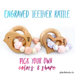 ENGRAVED Personalized and Customized Animal Teether Rattle (Choose Your Colors/Animal!)