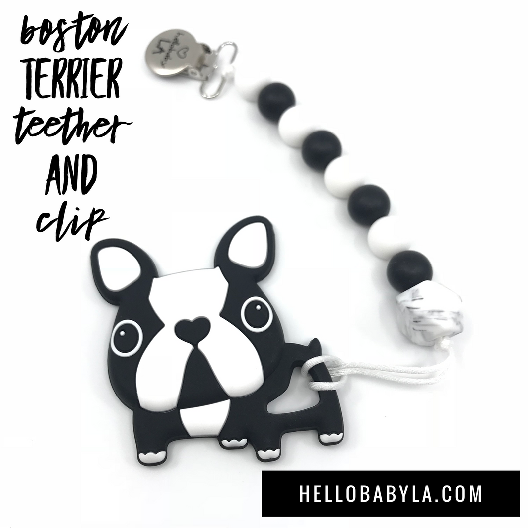 Boston Terrier Dog Teether and Pacifier Clip/Teething Leash Combo