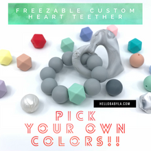 Custom Marble Heart Freezable Silicone Teether (Pick your own colors!)