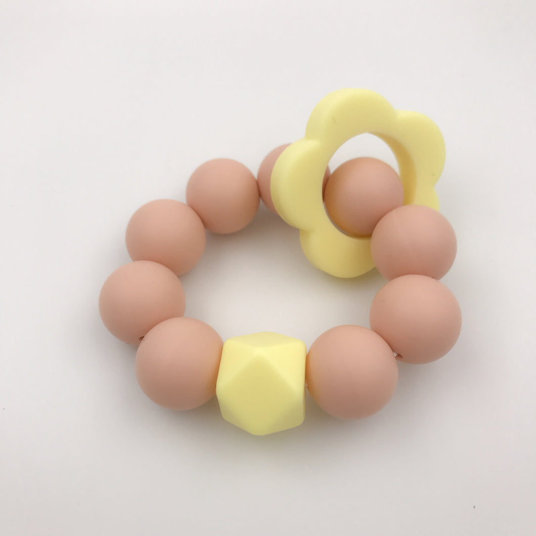 Freezable Blush/Yellow Silicone Teether Flower