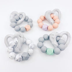 Marble Heart Freezable Silicone Teether Summer Sale