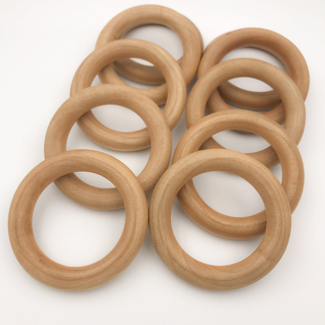 50 PACK Organic Maple Wood Round Rings 3