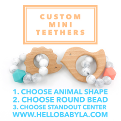 custom mini teether choose your own color animal DIY baby shower gift