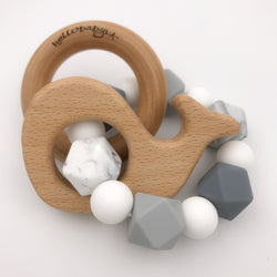 Greyscale Whale Teether Rattle