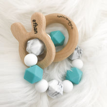 ENGRAVED Bunny Personalized and Customized Easter Teether Rattle (Choose Your Colors)