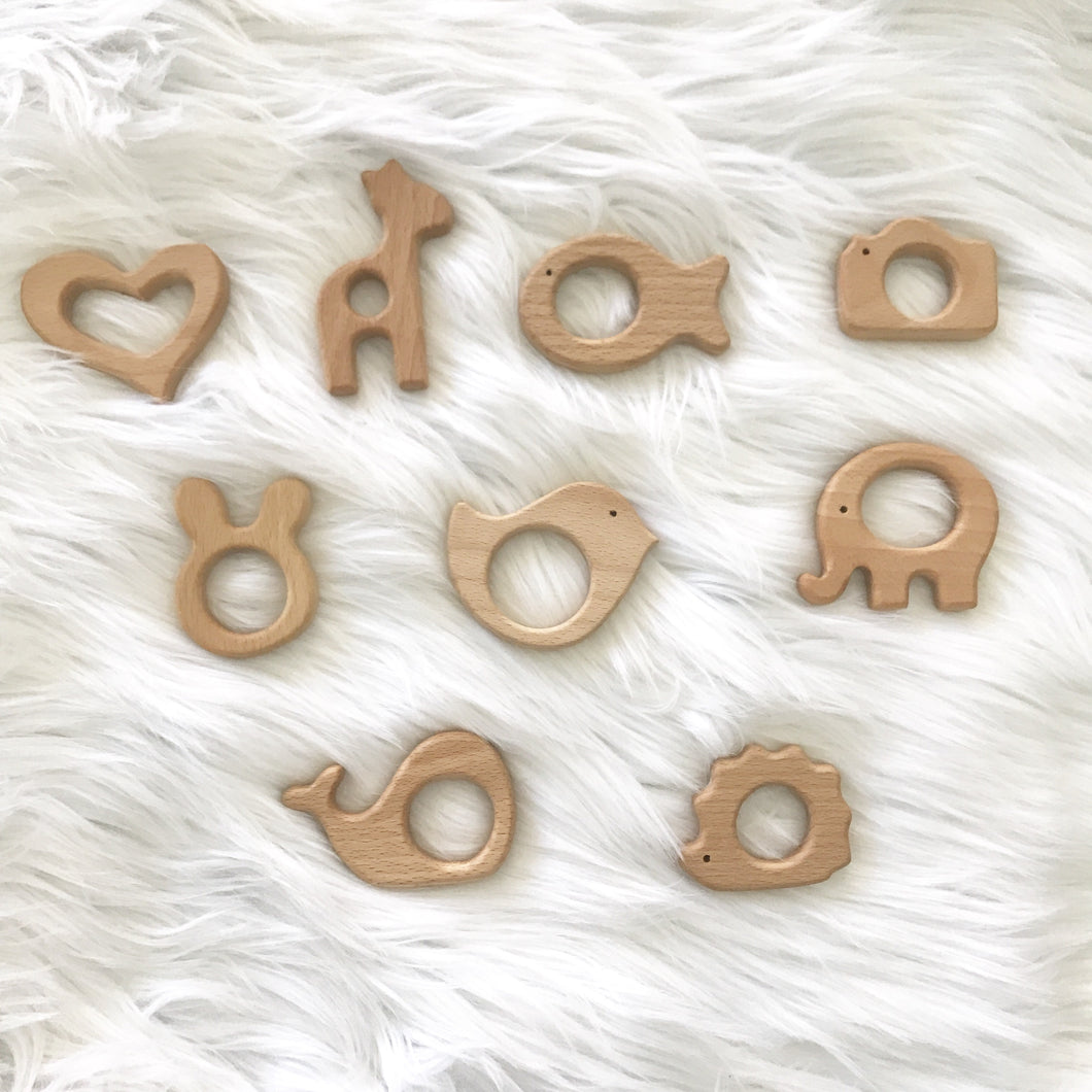 5 PACK Animal Natural Wooden Teether