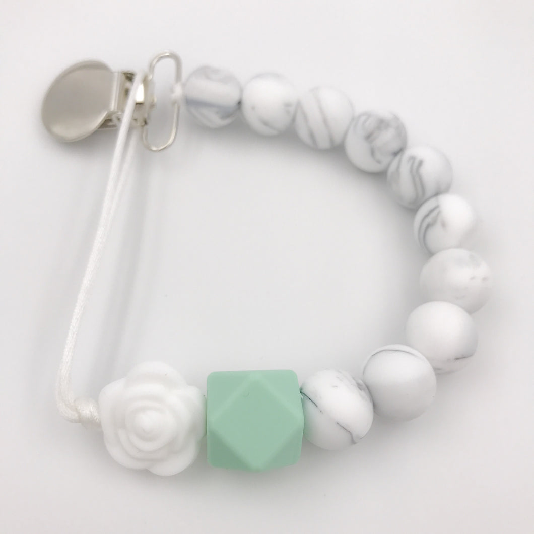 Mint Floral Pacifier/Teething Leash
