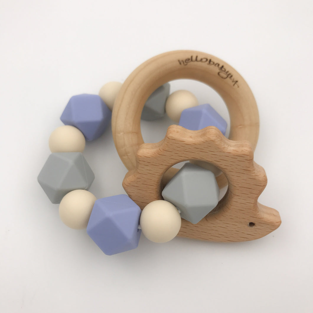 Serenity/Grey Hedgehog Teether Rattle