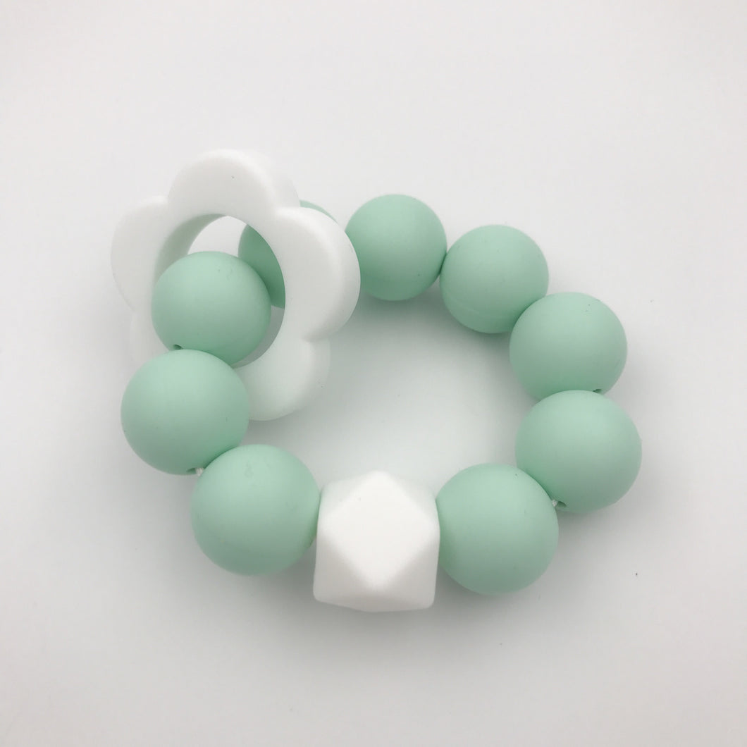 Freezable Mint Silicone Teether Flower