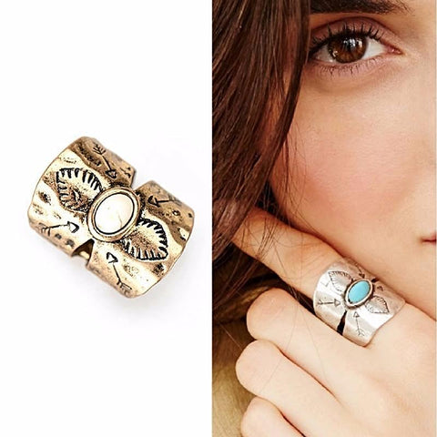 Antique Wide Bohemian Midi Ring