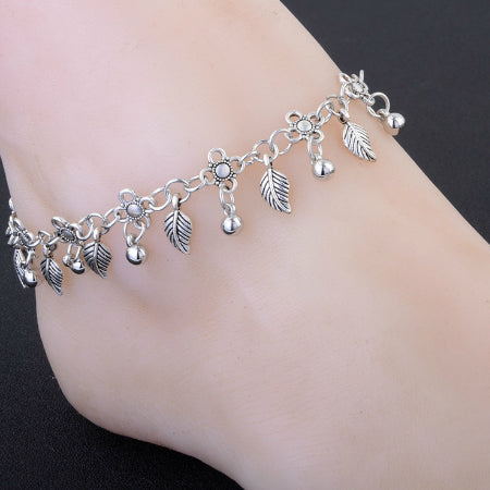 Flowers Tassel Leaves Round Beads Anklet