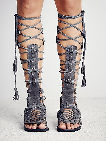 New beautiful Flat Sandals Bohemian Style Booties Cross-Tie Fringe Flat Gladiator Sandals Women Summer High Boots Shoes