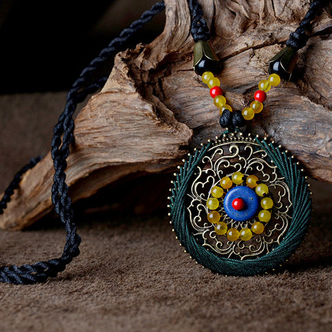 Blue Turkey Stone Necklace-Necklace-Boho-Chic.shop