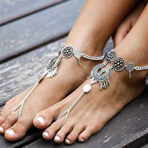 Antique Silver Hollow Flower Chain Anklet