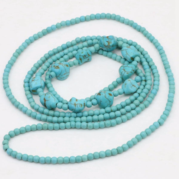Turquoises Stone Long Chain Necklace