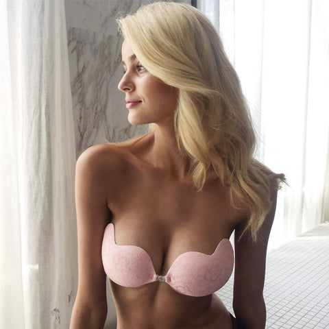 lace pink & black petals bare lift bra