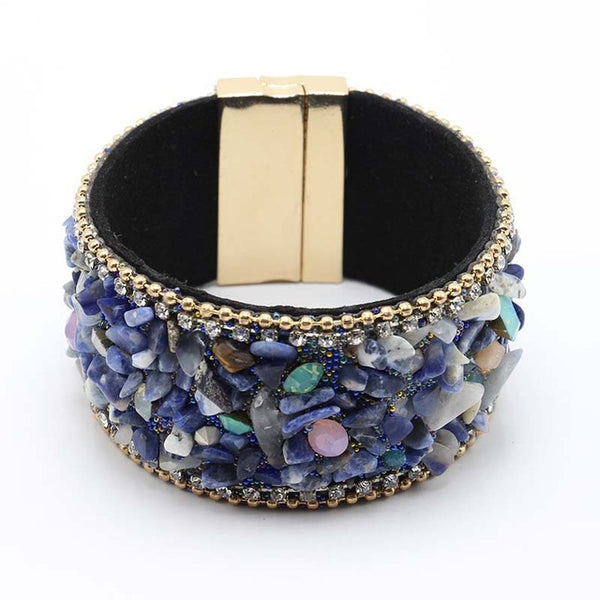 Leather Bangle Bracelet with Magnetic Clasp