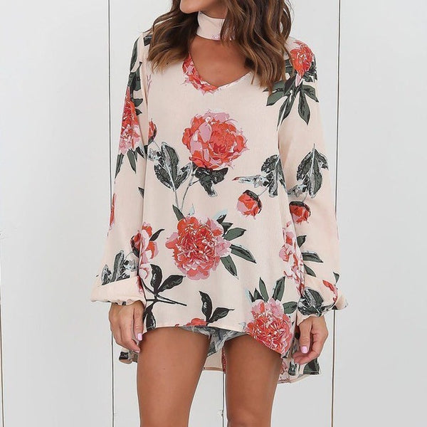 S-3XL New Women Boho Floral Print Long Sleeve Loose Tops Blouse Autumn Choker V-Neck Casual Party Shirt Blusas 2018