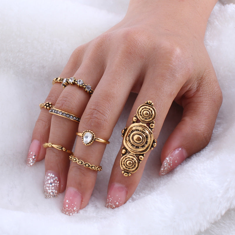 8pcs/Set Vintage Gold Midi Finger Rings