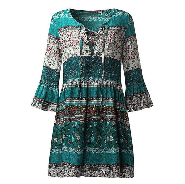 Claudia- Casual Boho Mini Dress