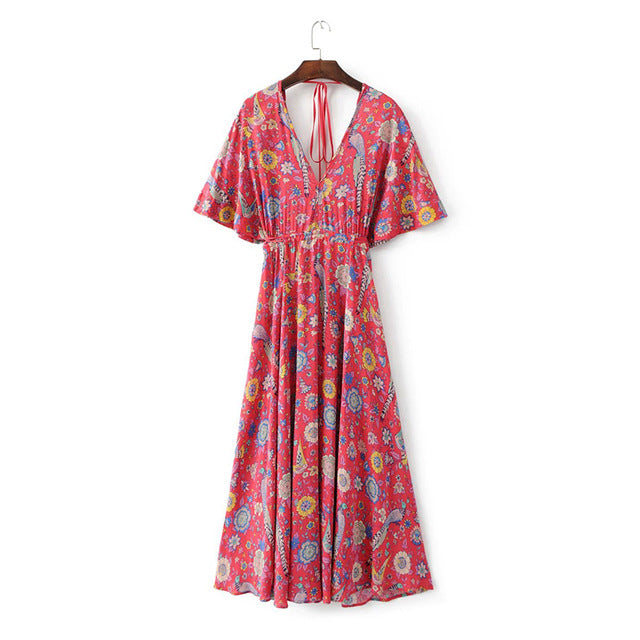 2017 Vestido Long Flower Dress Retro Bohemian Maxi Dress Sexy Ethnic Deep V-neck Floral Print Beach Dresses Boho Hippie Robe