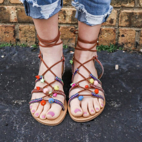 New Women's Shoes Bohemian Ethnic Style Flat Lace Comfort Sandals Size 34-43