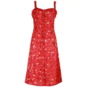 malianna 2018 Summer Women Sleeveless Ruffle Straps Scooped Back BOHO Dresses Red Blue Floral Black Dotted Print Beach Dress