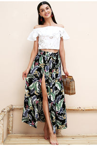 Multi leaf print skirt