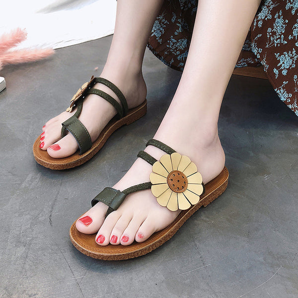 Beach Shoes Women Bohemian Sandals Flat Heel Women Summer Simple Holiday Joker Beach Thailand Flower Female Sandals