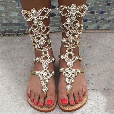 Bohemian Lady Flat Sandals Bling Bling Multi-color Crystal Clip Toe Shoes String Beaded Criss Cross Cage Sandal Boots Size 34-45