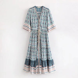 2018 Summer Women Party Hippie Vestidos Gypsy Collective Dresses Boho Oracle Print Maxi Dresses Ruffled Hem Casual Beach Dress