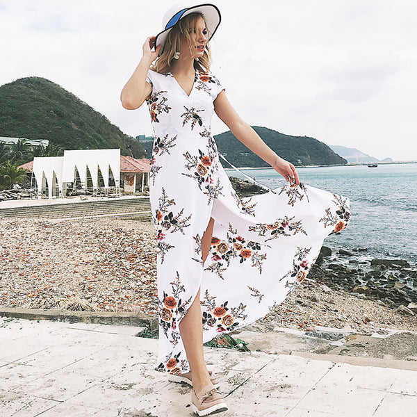 URIFENS New Women Summer Dress 2018 Short Sleeve Floral Print Bohemian Dress V Neck Boho Sexy Split Beach Long Dresses Vestidos