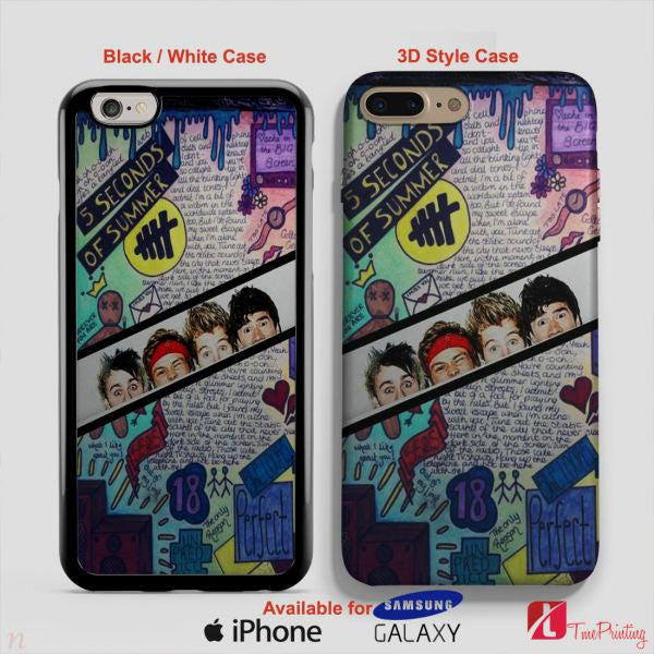 5 Seconds Of Summer Background 5SOS Case - Personalized iPhone 7 Case, iPhone 6/6S Plus, 5 5S SE, 7S Plus, Samsung Galaxy S5 S6 S7 S8 Case, and Other