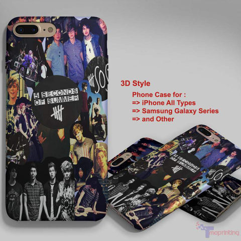 5 Seconds Of Summer Collage 2 - Personalized iPhone 7 Case, iPhone 6/6S Plus, 5 5S SE, 7S Plus, Samsung Galaxy S5 S6 S7 S8 Case, and Other