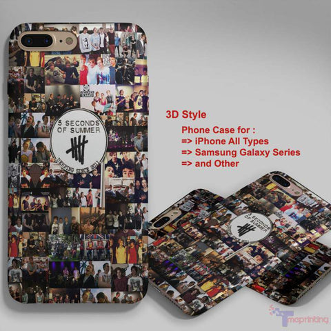 5 Seconds Of Summer Collage 3 - Personalized iPhone 7 Case, iPhone 6/6S Plus, 5 5S SE, 7S Plus, Samsung Galaxy S5 S6 S7 S8 Case, and Other