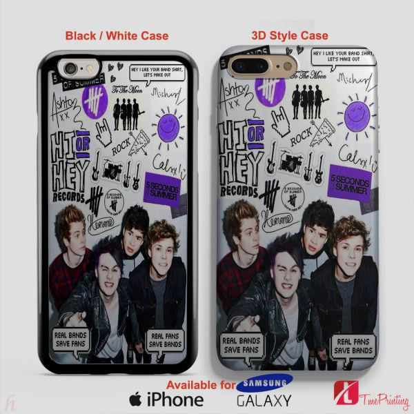 5SOS Collage Signatures Seconds Of Summer - Personalized iPhone 7 Case, iPhone 6/6S Plus, 5 5S SE, 7S Plus, Samsung Galaxy S5 S6 S7 S8 Case, and Other