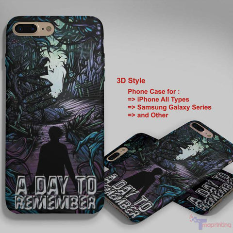 A Day To Remember Case - Personalized iPhone 7 Case, iPhone 6/6S Plus, 5 5S SE, 7S Plus, Samsung Galaxy S5 S6 S7 S8 Case, and Other